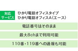 対応サービス:ひかり電話オフィスタイプ/ひかり電話オフィスA(エース) 電話番号はそのまま・最大8chまで利用可能・110番・119番への通報も可能